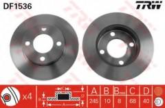 Комплект тормозных дисков TRW DF1536 (2 шт.)