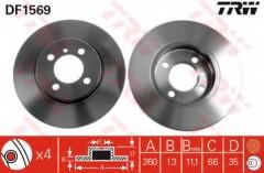 Комплект тормозных дисков TRW DF1569 (2 шт.)