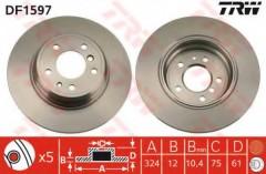 Комплект тормозных дисков TRW DF1597 (2 шт.)