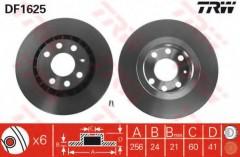 Комплект тормозных дисков TRW DF1625 (2 шт.)