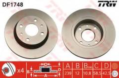 Комплект тормозных дисков TRW DF1748 (2 шт.)