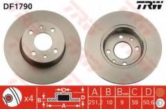 Комплект тормозных дисков TRW DF1790 (2 шт.)
