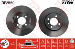 Комплект тормозных дисков TRW DF2550 (2 шт.)