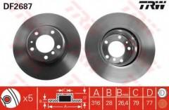 Комплект тормозных дисков TRW DF2687 (2 шт.)
