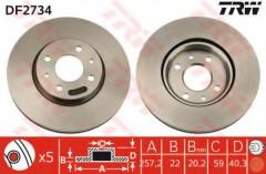 Комплект тормозных дисков TRW DF2734 (2 шт.)