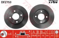 Комплект тормозных дисков TRW DF2753 (2 шт.)