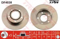 Комплект тормозных дисков TRW DF4038 (2 шт.)