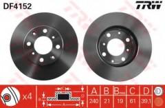 Комплект тормозных дисков TRW DF4152 (2 шт.)