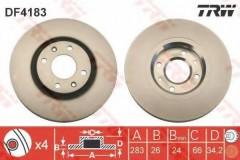 Комплект тормозных дисков TRW DF4183 (2 шт.)