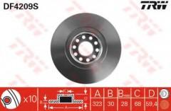 Комплект тормозных дисков TRW DF4209S (2 шт.)