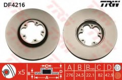 Комплект тормозных дисков TRW DF4216 (2 шт.)