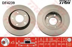 Комплект тормозных дисков TRW DF4239 (2 шт.)