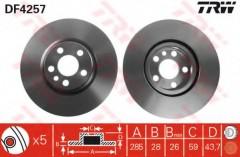 Комплект тормозных дисков TRW DF4257 (2 шт.)