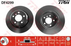 Комплект тормозных дисков TRW DF4299 (2 шт.)