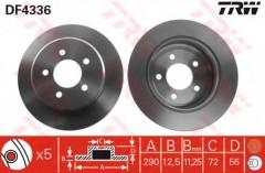 Комплект тормозных дисков TRW DF4336 (2 шт.)