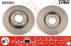Комплект тормозных дисков TRW DF4351 (2 шт.)