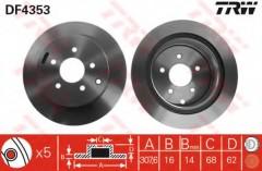 Комплект тормозных дисков TRW DF4353 (2 шт.)