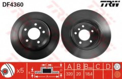 Комплект тормозных дисков TRW DF4360 (2 шт.)