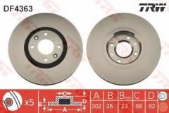 Комплект тормозных дисков TRW DF4363 (2 шт.)