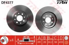 Комплект тормозных дисков TRW DF4377 (2 шт.)