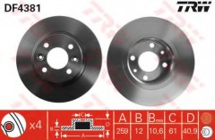 Комплект тормозных дисков TRW DF4381 (2 шт.)