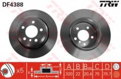 Комплект тормозных дисков TRW DF4388 (2 шт.)