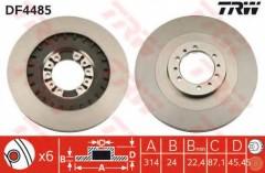 Комплект тормозных дисков TRW DF4485 (2 шт.)