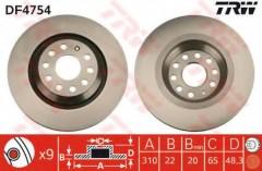 Комплект тормозных дисков TRW DF4754 (2 шт.)