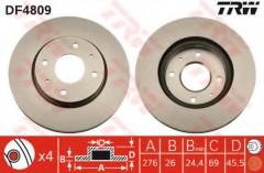 Комплект тормозных дисков TRW DF4809 (2 шт.)