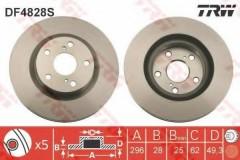 Фото 1 - Комплект тормозных дисков TRW DF4828S (2 шт.)