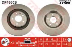 Комплект тормозных дисков TRW DF4860S (2 шт.)
