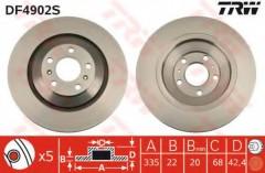 Комплект тормозных дисков TRW DF4902S (2 шт.)