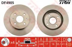 Комплект тормозных дисков TRW DF4905 (2 шт.)