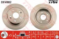 Комплект тормозных дисков TRW DF4982 (2 шт.)