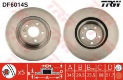 Комплект тормозных дисков TRW DF6014S (2 шт.)