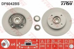 Комплект тормозных дисков TRW DF6042BS (2 шт.)