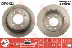 Комплект тормозных дисков TRW DF6123 (2 шт.)