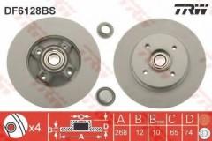 Комплект тормозных дисков TRW DF6128BS (2 шт.)