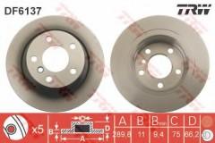 Комплект тормозных дисков TRW DF6137 (2 шт.)