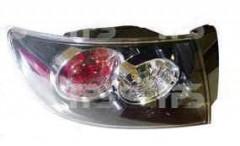 Фонарь задний для Mazda 3 седан '04-09 левый (DEPO) внешний прозр. отраж. черн. рассеив. бел. повор.