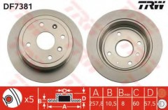 Комплект тормозных дисков TRW DF7381 (2 шт.)