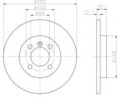 Комплект тормозных дисков TEXTAR 92026400 (2 шт.)