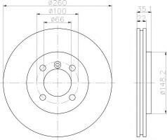 Комплект тормозных дисков TEXTAR 92026503 (2 шт.)