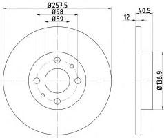 Комплект тормозных дисков TEXTAR 92041503 (2 шт.)