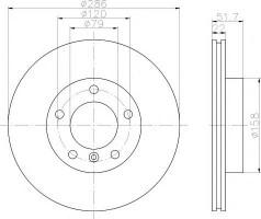 Комплект тормозных дисков TEXTAR 92055605 (2 шт.)