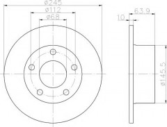 Комплект тормозных дисков TEXTAR 92057503 (2 шт.)
