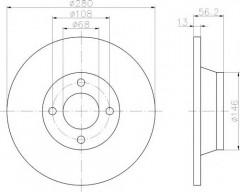 Комплект тормозных дисков TEXTAR 92060400 (2 шт.)