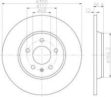 Комплект тормозных дисков TEXTAR 92160103 (2 шт.)
