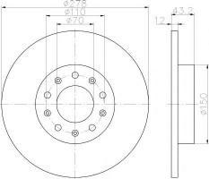 Комплект тормозных дисков TEXTAR 92221003 (2 шт.)