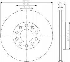 Комплект тормозных дисков TEXTAR 92230103 (2 шт.)
